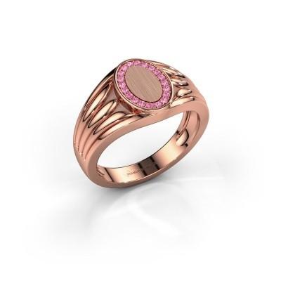 Pinkring Marinus 375 rosé goud roze saffier 1.2 mm