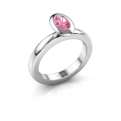 Stacking ring Trudy Oval 950 platinum pink sapphire 6x4 mm