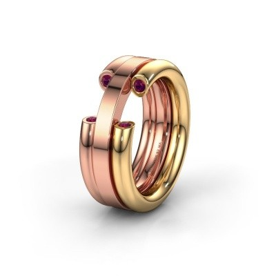 Wedding ring WH6018L 585 gold rhodolite ±8x3 mm