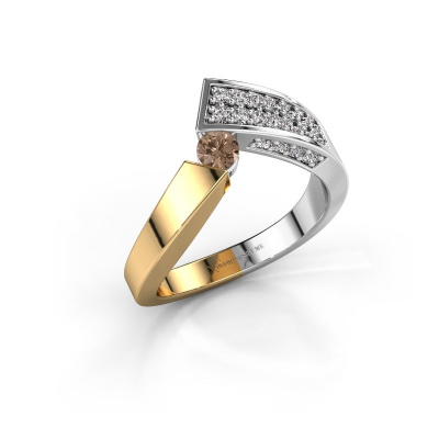 Bague Evie 585 or jaune diamant brun 0.456 crt