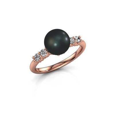 Foto van Ring Cecile 375 rosé goud zwarte parel 8 mm