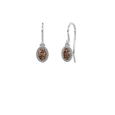 Foto van Oorhangers Seline 585 witgoud bruine diamant 1.09 crt