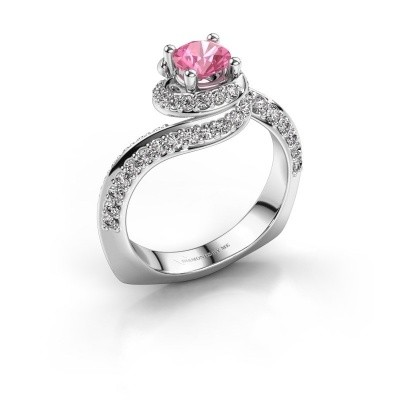 Engagement ring Sienna 585 white gold pink sapphire 5 mm