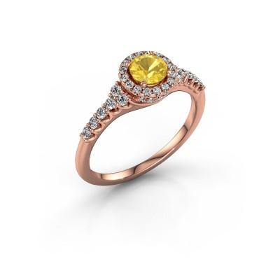 Foto van Verlovingsring Loralee 375 rosé goud gele saffier 5 mm