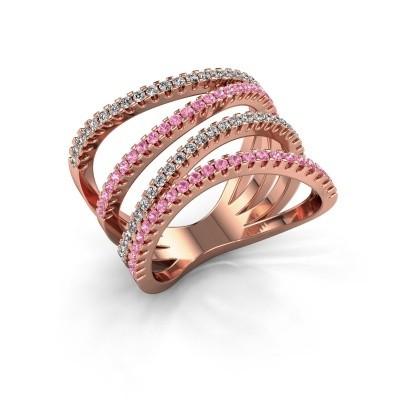 Ring Mitzi 375 rosé goud roze saffier 1.2 mm