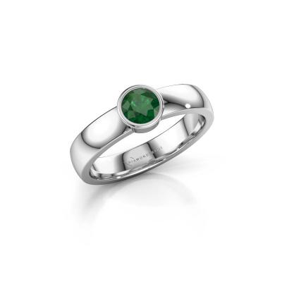 Foto van Ring Ise 1 585 witgoud smaragd 4.7 mm