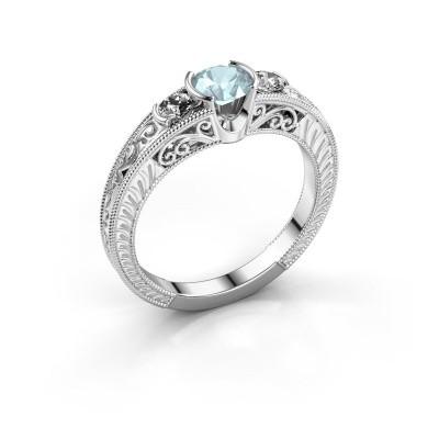 Promise ring Tasia 950 platina aquamarijn 5 mm