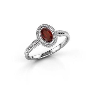 Engagement ring Noud 2 OVL 585 white gold garnet 6x4 mm