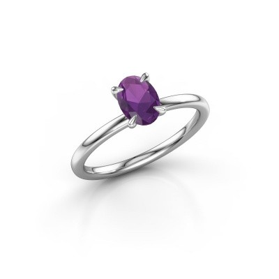 Picture of Engagement ring Crystal OVL 1 925 silver amethyst 7x5 mm