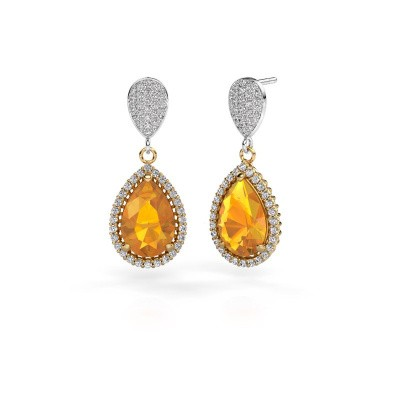 Drop earrings Cheree 2 585 gold citrin 12x8 mm