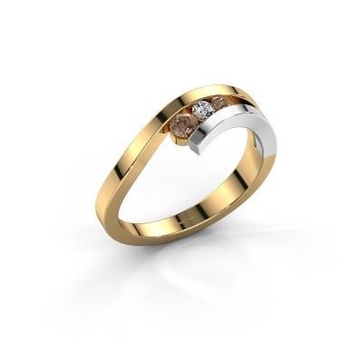 Ring Evalyn 2 585 goud bruine diamant 0.16 crt