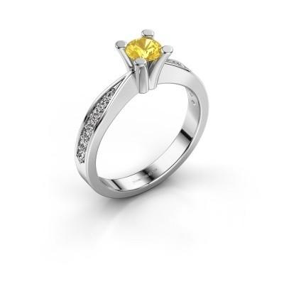 Promise ring Ichelle 2 950 platina gele saffier 4.7 mm