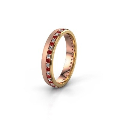 Trouwring WH0303L24AM 585 rosé goud robijn ±4x1.7 mm