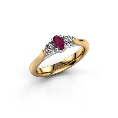 Verlovingsring Jente OVL 585 goud rhodoliet 5x3 mm