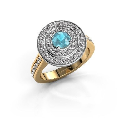 Ring Alecia 2 585 goud blauw topaas 5 mm
