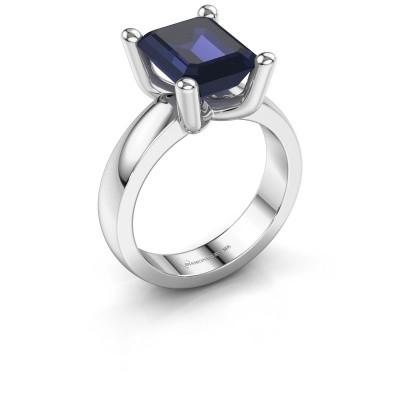 Ring Clelia EME 925 zilver saffier 10x8 mm