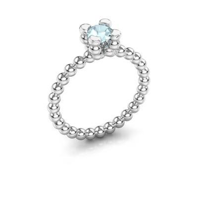 Ring Aurore 585 witgoud aquamarijn 5 mm