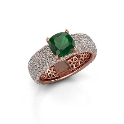 Engagement ring Darcy 375 rose gold emerald 7 mm