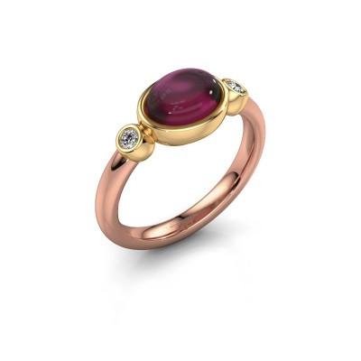 Ring Liane 585 rosé goud rhodoliet 8x6 mm