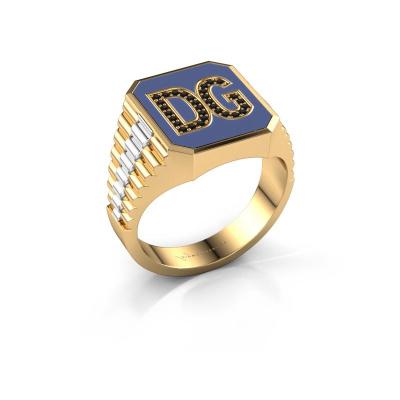 Foto van Zegelring Stephan 2 585 goud zwarte diamant 0.146 crt