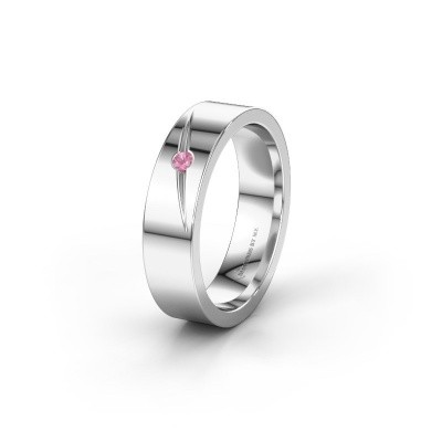 Wedding ring WH0170L15A 585 white gold pink sapphire ±5x1.7 mm