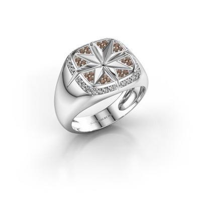 Foto van Heren ring Ravi 375 witgoud bruine diamant 0.35 crt