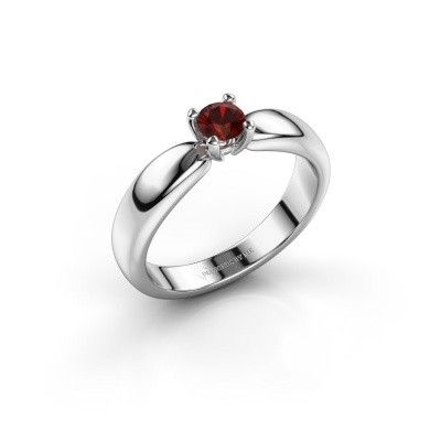 Promise ring Katrijn 950 platinum garnet 4.2 mm