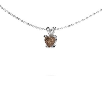 Foto van Ketting Sam Heart 950 platina bruine diamant 0.50 crt