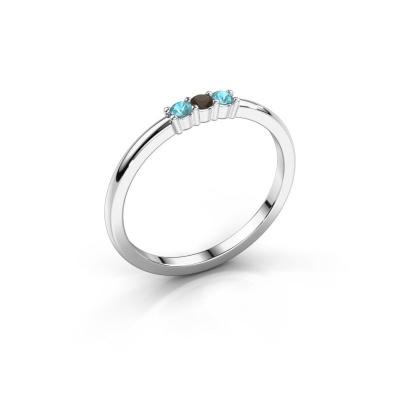 Engagement ring Yasmin 3 950 platinum smokey quartz 2 mm