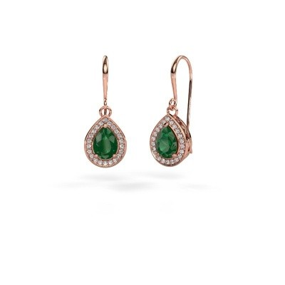 Picture of Drop earrings Beverlee 1 375 rose gold emerald 7x5 mm