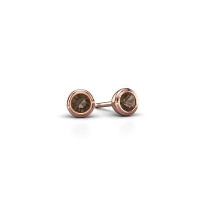 Foto van Oorstekers Shemika 375 rosé goud rookkwarts 3.4 mm