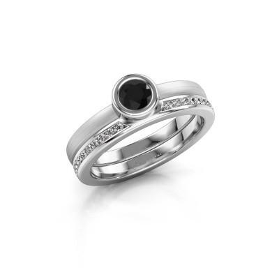 Foto van Ring Cara 950 platina zwarte diamant 0.670 crt
