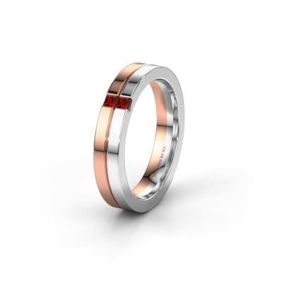 Wedding ring WH0225L14B 585 rose gold garnet ±0.16x0.08 in