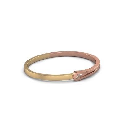 Bracelet jonc Kiki 585 or rose diamant brun 0.25 crt