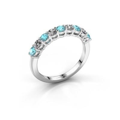 Foto van Belofte ring Michelle 9 585 witgoud blauw topaas 2.7 mm