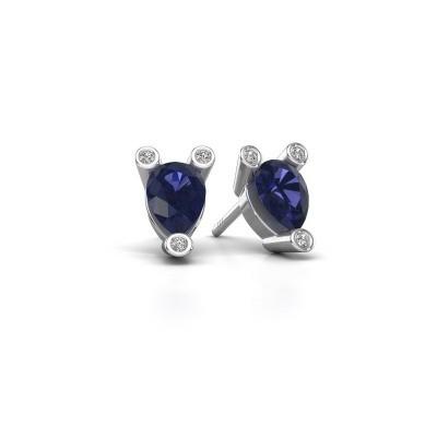 Picture of Stud earrings Cornelia Pear 925 silver sapphire 7x5 mm