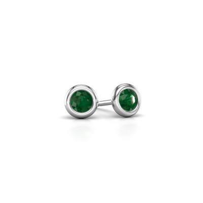 Picture of Stud earrings Lieke RND 950 platinum emerald 4 mm
