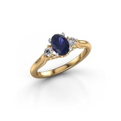 Picture of Engagement ring Laurian OVL 585 gold sapphire 7x5 mm