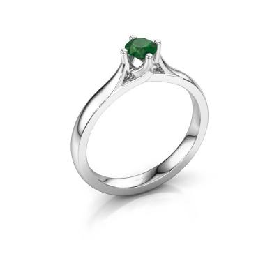 Verlovingsring Eva 585 witgoud smaragd 4.2 mm