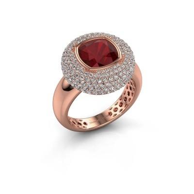Ring Keshia 375 rosé goud robijn 8 mm