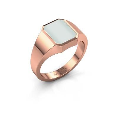 Signet ring Glenn 1 375 rose gold green sardonyx 10x8 mm