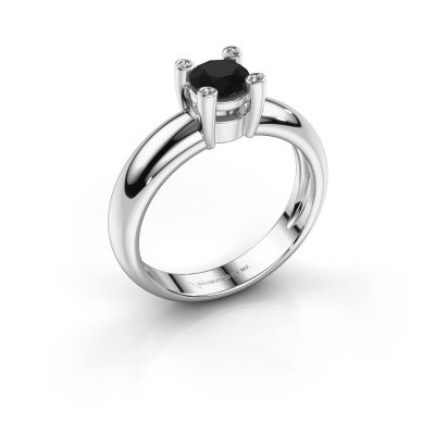 Ring Fleur 585 witgoud zwarte diamant 0.50 crt