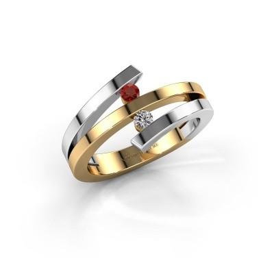 Foto van Ring Synthia 585 goud granaat 2.5 mm