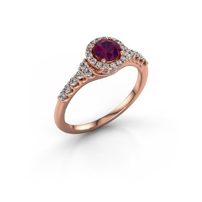 Picture of Engagement ring Loralee 375 rose gold rhodolite 5 mm