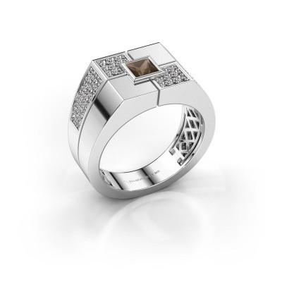 Foto van Heren ring Rogier 925 zilver rookkwarts 4 mm