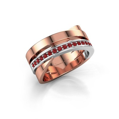 Ring Yolando 585 rosé goud robijn 1.3 mm
