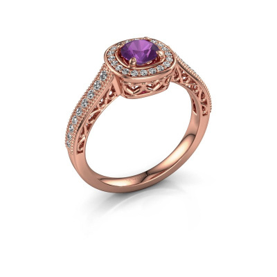 Engagement ring Candi 375 rose gold amethyst 5 mm