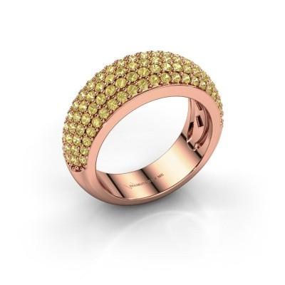 Foto van Ring Cristy 375 rosé goud gele saffier 1.2 mm