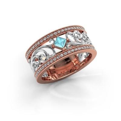 Ring Danae 585 rosé goud blauw topaas 3 mm