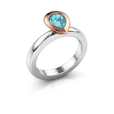Stapelring Trudy Pear 585 witgoud blauw topaas 7x5 mm